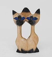 """фигурка из дерева """"Кошки-близнецы"""" суар 20см"""