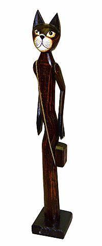 Статуэтка Кошечка с сумкой 80см. из дерева Альбиция
