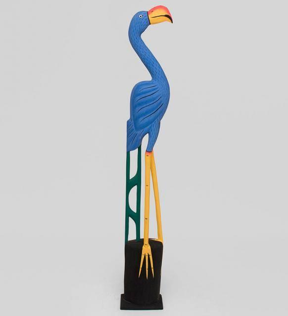 """Птица из дерева """"Голубой Фламинго"""" 150см"""