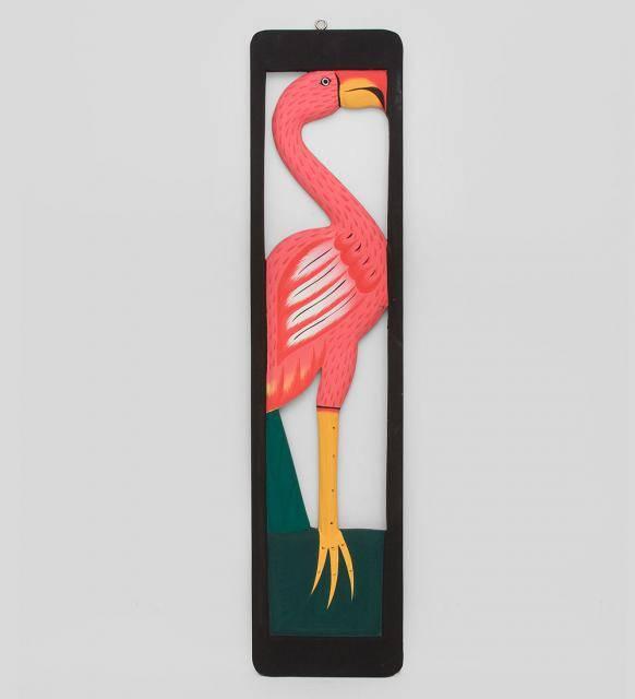 """Панно из дерева """"Розовый фламинго"""" 70см"""