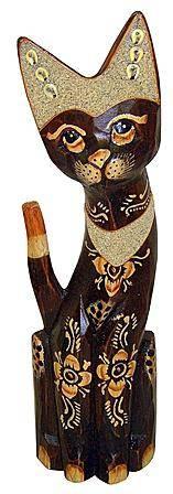 Деревянная фигурка 'Кошка Бигуди' 40см.