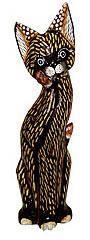 Деревянная фигурка кошечка пушистая с лапкой у мордочки 40см.