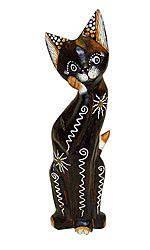 Деревянная фигурка 'Кошка солнечная с лапкой у мордочки' 30см.