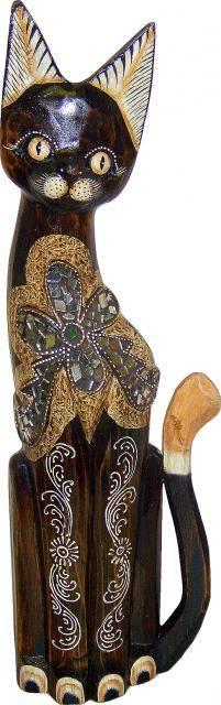 Статуэтка с цветком из мозаики 'Кот Королевич 60см.