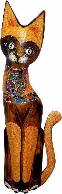 Статуэтка деревянная 'Кот Семур' 80см.